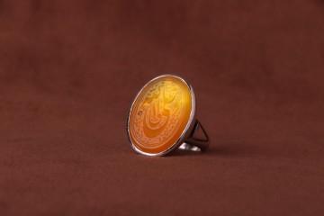 عقیق پرتقالی خطی نقش علی ولی الله