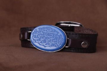دستبند عقیق ابی خطی نقش یا علی ابن موسی الرضا ع