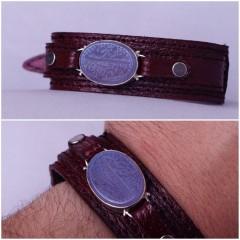 دستبند عقیق کبود خطی نقش پنج تن ال عبا