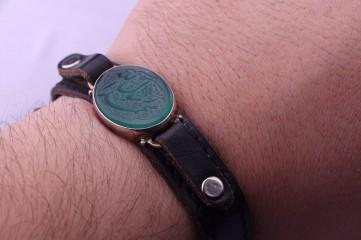 دستبند عقیق خطی سبز