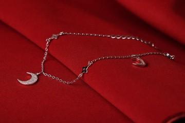 دستبند جواهری  نقره با روکش طلا سفید