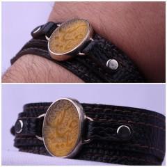 دستبند عقیق زرد خطی